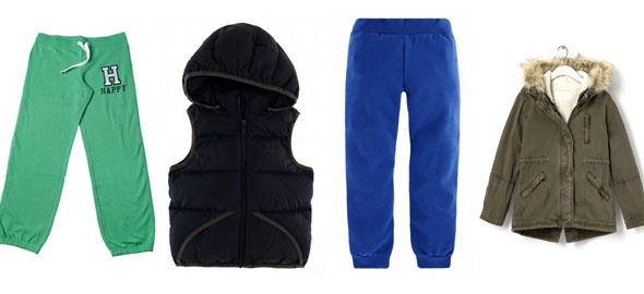 1f1f87365ac Αμάνικο μπουφάν για αγόρια Benetton (τιμή: 39,95 ευρώ). Φόρμα Benetton  (τιμή: 9,95 ευρώ για το παντελόνι). Παρκά για κορίτσια με αποσπώμενη  κουκούλα Zara ...