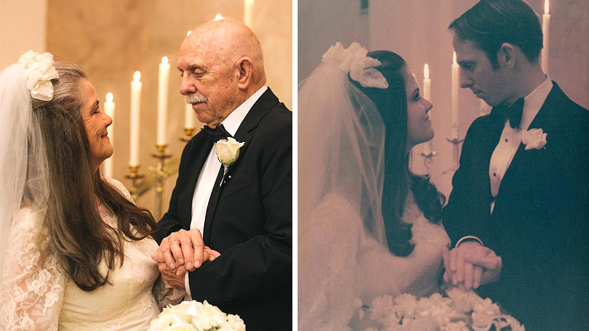 Γιόρτασαν την 50η τους επέτειο ξαναζωντανεύοντας τις φωτογραφίες του γάμου τους