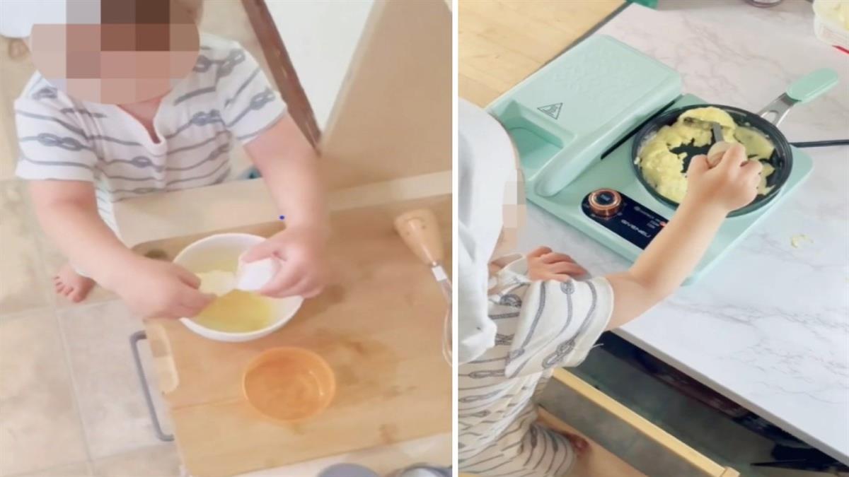 Μαμά μαθαίνει στον 1 έτους γιο της να μαγειρεύει μόνος του ομελέτα