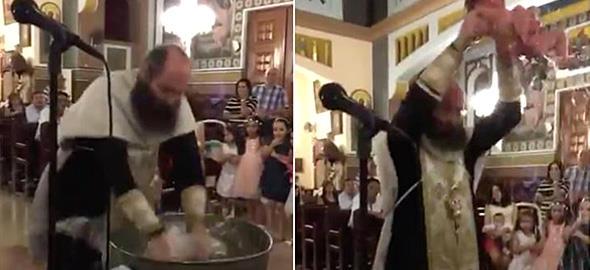 Ιερέας σχεδόν πνίγει το μωρό την ώρα της βάφτισης!